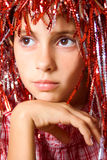 Young girl with carnival wig Royalty Free Stock Image