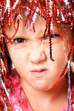 Young girl with carnival wig Royalty Free Stock Photo