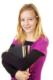Young girl carry books Royalty Free Stock Image