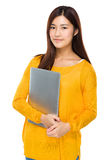 Young girl carry with portable computer Stock Image
