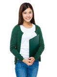Young girl carry with questionnaire board Stock Photos