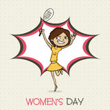 Young girl cartoon for International Womens Day celebration. Stock Images