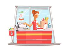 Young girl cashier. Supermarket worker in uniform. Vector flat illustration Royalty Free Stock Photos