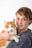A young girl and cat Stock Photography