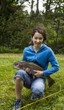 Young Girl Catches Trophy Trout Stock Photos