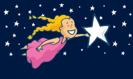 Young girl catching a star or dream Royalty Free Stock Image