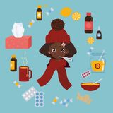 Young girl caught cold flu or virus. Treatment of illness. Young african american girl in red hat caught cold flu or virus. She has red nose, high temperature royalty free illustration