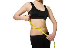 Young girl with the centimeter in dieting concept Stock Photography