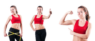 The young girl with centimeter in dieting concept Royalty Free Stock Photo