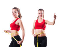 The young girl with centimeter in dieting concept Stock Photo