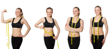 The young girl with centimeter in dieting concept Stock Photos