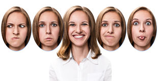 Young girl changes her face portraits. Stock Photo