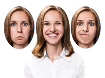 Young girl changes her face portraits. Stock Photography