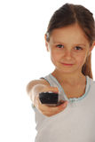 Young girl changing channel isolated Royalty Free Stock Photo