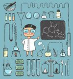 Young Girl Chemist and Laboratory Tools Collection. Chemical experiment by a talanted chemist. Vector illustration EPS8 stock illustration