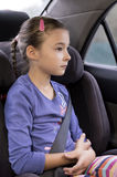 Young girl in child seat Royalty Free Stock Photo