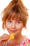 Young girl with chips Stock Photos