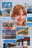 Young girl choosing the place for summer holiday. Young girl choosing the best place for summer holiday on touch screen Stock Image