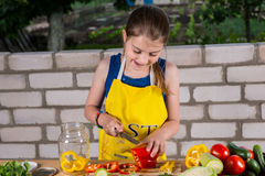 Young Girl Chopping Fresh Vegetables for Canning Stock Images