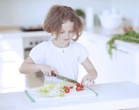 Young girl chopping tomatoes and making a salad in the kitchen Royalty Free Stock Photos