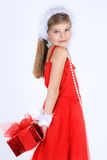 Young girl with christmas gift Stock Image