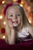 Young girl Christmas portrait Stock Images