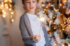 Young girl with Christmas sparkler Royalty Free Stock Image