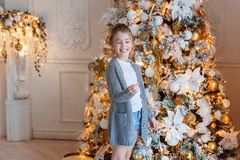Young girl with Christmas sparkler Stock Photo