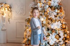 Young girl with Christmas sparkler Stock Images