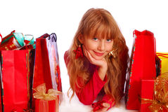 Young girl at christmas time Royalty Free Stock Image