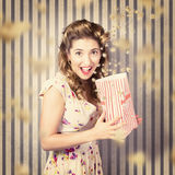 Young girl at the cinema watching halloween movie Stock Images