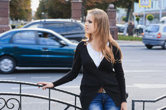 Young girl in city Royalty Free Stock Image
