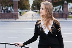 Young girl in city Stock Photo