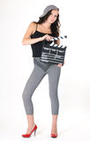 Young girl with clapper board Stock Image