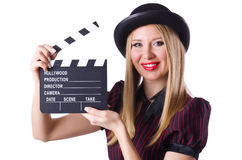 Young girl with clapperboard isolated on white Stock Image