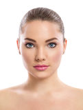 Young girl with clean skin on pretty face Royalty Free Stock Photos