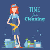 Young Girl With Cleaning Supplies concept illustration. Housework cleaner with professional washing items for your Stock Image