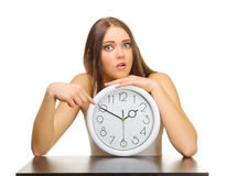 Young girl with clocks Royalty Free Stock Photography