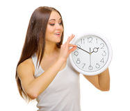 Young girl with clocks Royalty Free Stock Photo