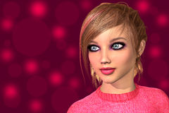 Young girl closeup face. Young dolly girl closeup face 3D render illustration Stock Images