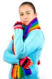 Young girl with colored scarf Royalty Free Stock Image
