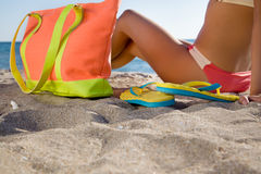 Young girl with colorful accessories on beach resort. Close-up Stock Photography