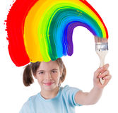 Young girl with colorful paint Royalty Free Stock Image