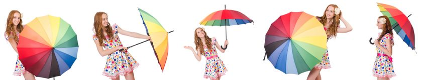 The young girl with colourful umbrella Royalty Free Stock Images