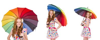 The young girl with colourful umbrella Stock Image