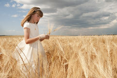 Young girl in communion dress. A young girl in her communion dress in a field of wheat Stock Photos