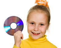 Young girl with a compact disc Stock Photo