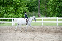 Young girl competing at horse show. Stock Image