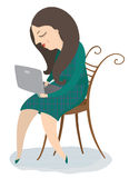 Young girl with a computer. Vector illustration Royalty Free Stock Photo