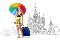 The young girl in concept of tourism to russia Stock Photos